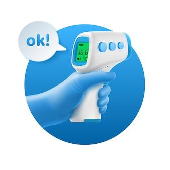 Illustrazione 3d di mano nel guanto con termometro a infrarossi senza contatto sul cerchio blu