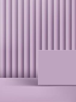 Illustrazione 3d minimal monochrome pastel purple platform & background. Vettore Premium