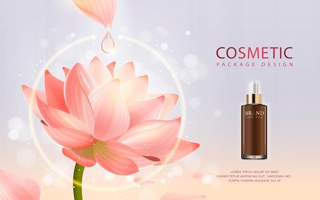 Flacone contagocce realistico illustrazione 3d con ingredienti lotus sullo sfondo