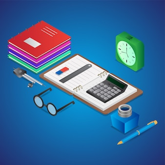 L'illustrazione 3d degli elementi di studio gradisce come taccuino aperto con il calcolatore, la bottiglia di inchiostro, i manuali e la sveglia