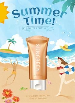 Prodotto per la protezione solare estiva con illustrazione 3d con adorabile poster di scena sulla spiaggia in stile scarabocchio
