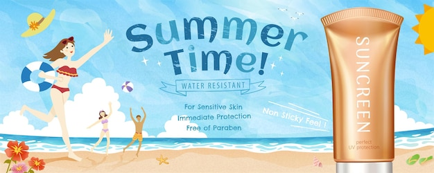 Prodotto per la protezione solare estiva con illustrazione 3d con una bella scena sulla spiaggia in stile scarabocchio