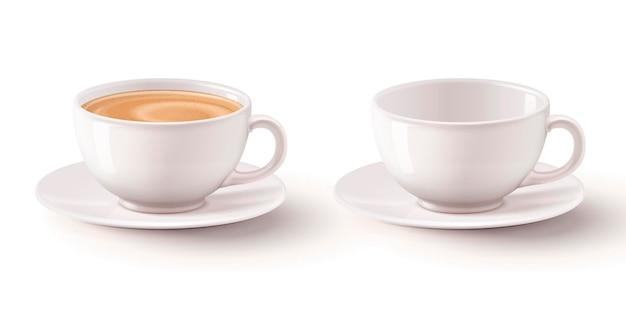 Illustrazione 3d con tè al latte in tazze bianche Vettore Premium