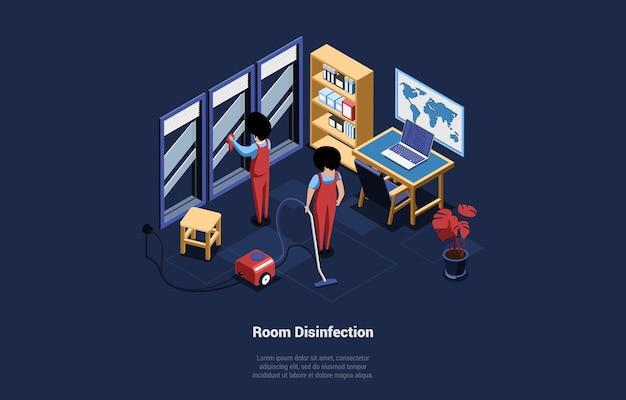Illustrazione 3d con scrittura disinfezione camera sul blu scuro