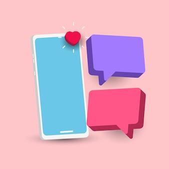 Illustrazioni 3d uno smartphone con un modello di vettore di testo a bolle