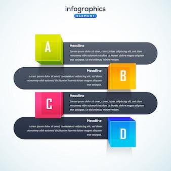 Elemento infografico 3d o grafico a quattro (4) passi.