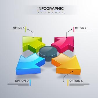 Elemento infografica 3d o grafico con quattro (4) passaggi.