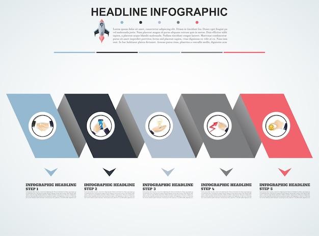 Visualizzazione dei dati del modello di infografica 3d può essere utilizzato per il layout del flusso di lavoro