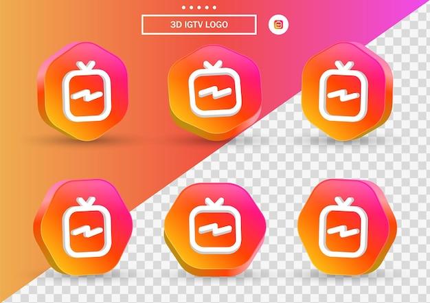Icona del logo igtv di instagram 3d in cornice poligonale in stile moderno per i loghi delle icone dei social media