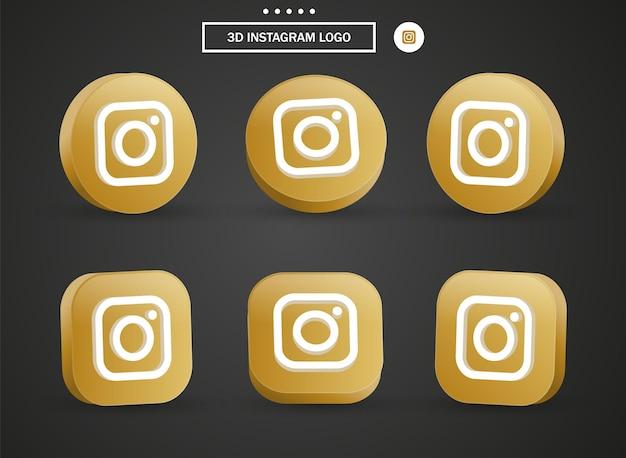 Icona del logo di instagram 3d nel moderno cerchio dorato e quadrato per i loghi delle icone dei social media