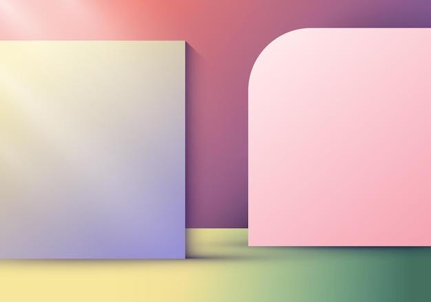 Stanza interna 3d con partizione parziale o sfondo e sfondo luminoso. illustrazione vettoriale