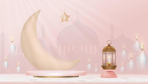 Podio islamico 3d con falce di luna, lanterna islamica tradizionale, candele e moschea. banner islamico orizzontale per la presentazione del prodotto