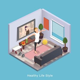 Design piatto isometrico 3d stile di vita sano
