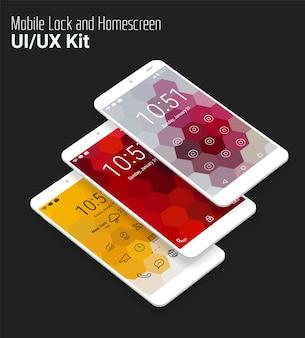 Modello di interfaccia utente mobile con lockscreen design piatto isometrico 3d, con sfondo di paesaggio geometrico astratto esagonale