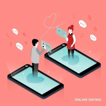 Design piatto isometrico 3d concetto di incontri online