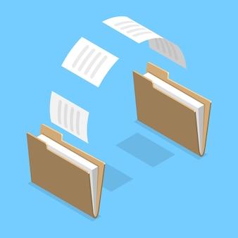Icona piana isometrica 3d di condivisione di file, trasferimento di documenti tra cartelle.