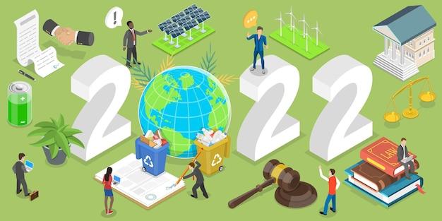 Illustrazione concettuale di vettore piatto isometrico 3d della legislazione ambientale di capodanno.
