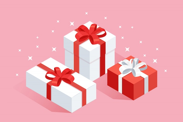 Scatola regalo isometrica 3d, presente con nastro, fiocco isolato su sfondo. concetto di acquisto di natale. sorpresa per anniversario, compleanno, matrimonio. disegno del fumetto