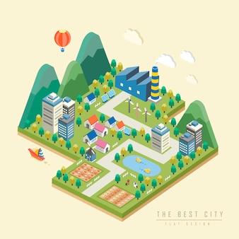 Infografica isometrica 3d con una bella città circondata da montagne