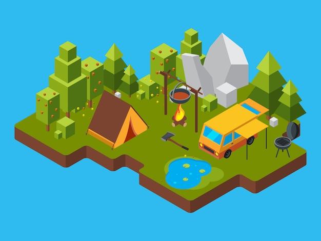 Paesaggio isometrico 3d con il campeggio nella foresta