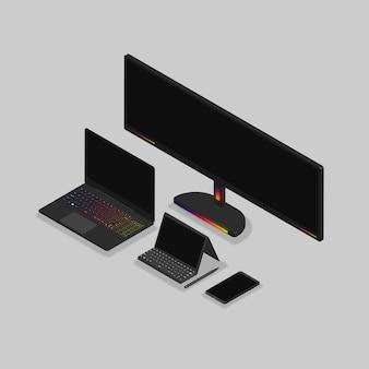 Giochi e attrezzature per laptop isometrici 3d