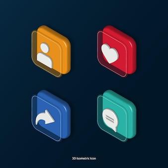 3d isometrico come set di icone tag di condivisione commento