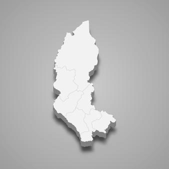 La mappa isometrica 3d dell'amazzonia è una regione del perù