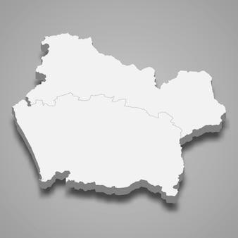 La mappa isometrica 3d dell'araucania è una regione del cile