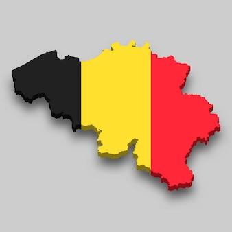 Mappa isometrica 3d del belgio con bandiera nazionale.