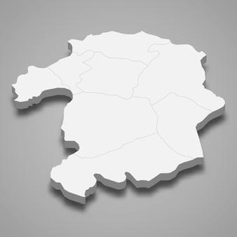 La mappa isometrica 3d di bingol è una provincia della turchia