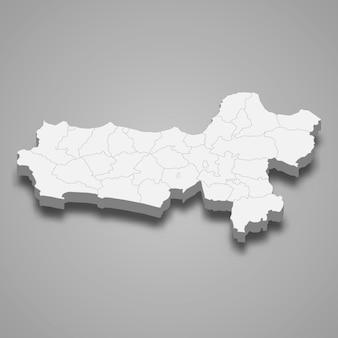 La mappa isometrica 3d di giava centrale è una provincia dell'indonesia