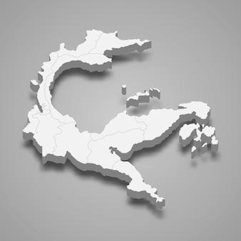 La mappa isometrica 3d delle sulawesi centrali è una provincia dell'indonesia