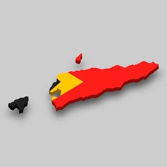 Mappa isometrica 3d di timor orientale con bandiera nazionale.