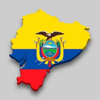 Mappa isometrica 3d dell'ecuador con bandiera nazionale.