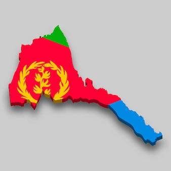 Mappa isometrica 3d dell'eritrea con bandiera nazionale.