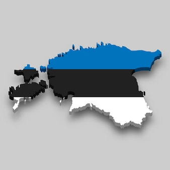 Mappa isometrica 3d dell'estonia con bandiera nazionale.