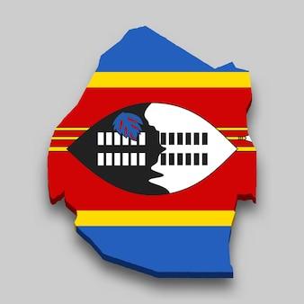 Mappa isometrica 3d di eswatini con bandiera nazionale.