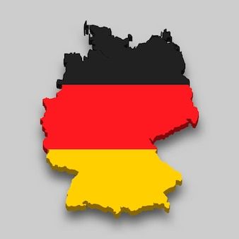 Mappa isometrica 3d della germania con bandiera nazionale.