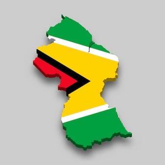 Mappa isometrica 3d della guyana con bandiera nazionale.