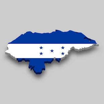 Mappa isometrica 3d dell'honduras con bandiera nazionale.