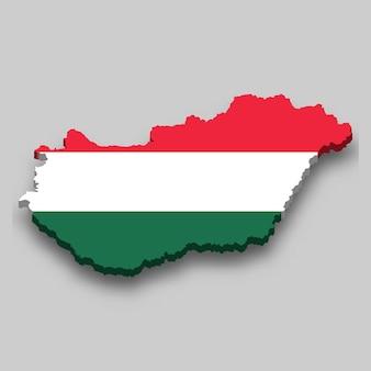 Mappa isometrica 3d dell'ungheria con bandiera nazionale.