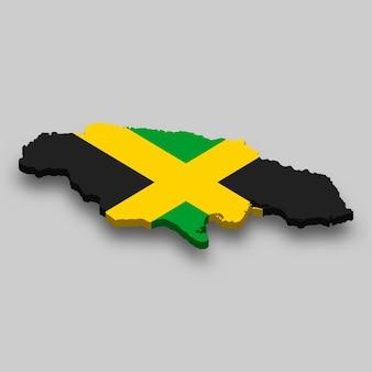 Mappa isometrica 3d della giamaica con bandiera nazionale.