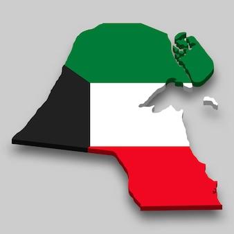 Mappa isometrica 3d del kuwait con bandiera nazionale.