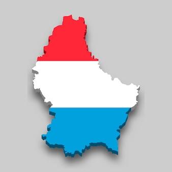 Mappa isometrica 3d del lussemburgo con bandiera nazionale.