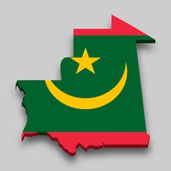 Mappa isometrica 3d della mauritania con bandiera nazionale.