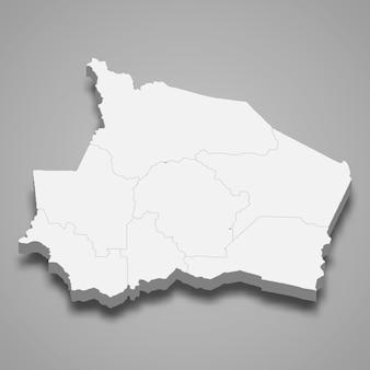 La mappa isometrica 3d di negeri sembilan è uno stato della malesia