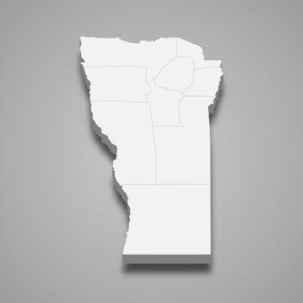 La mappa isometrica 3d di san luis è una provincia dell'argentina