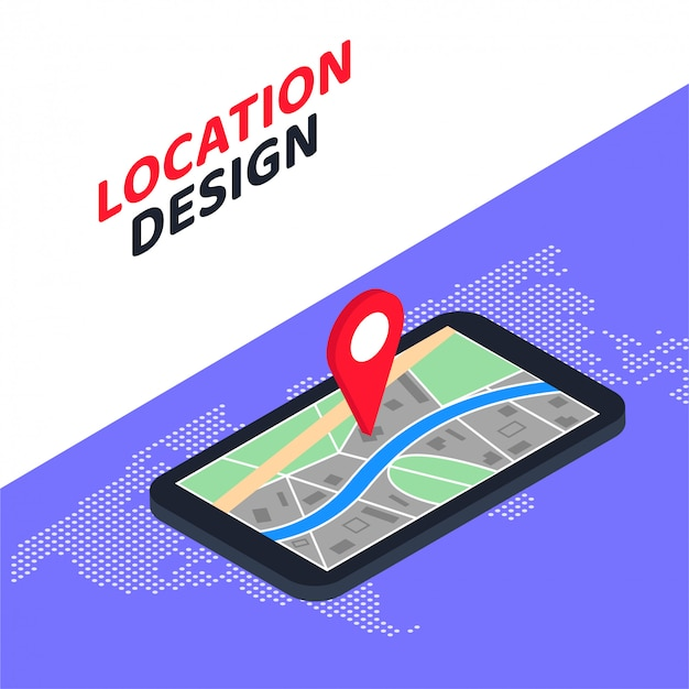 Progettazione mobile isometrica 3d di posizione di concetto di navigazione di gps