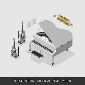 Set di strumenti musicali isometrici 3d