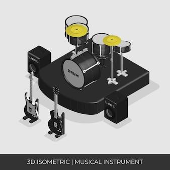 Set di strumenti musicali isometrici 3d. tamburo, chitarra e amplificatore.